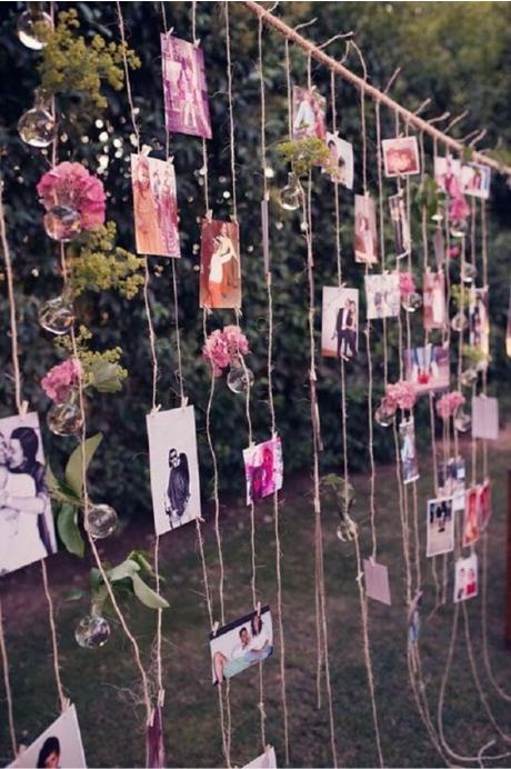 Decoração cortina de fotos